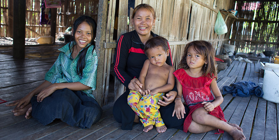 Cambodian Single Mother with her three Children