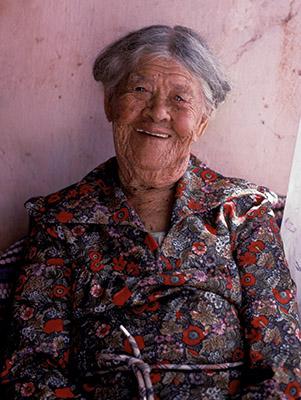 Elderly woman of rural Jamaica, smiles