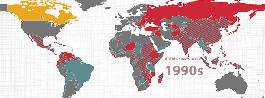 Map of where ADRA Canada worked in 1990s