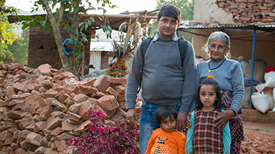 ADRA Worker, Rajan serving in Nepal, with his family