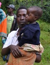 Woman in Rwanda holding Baby