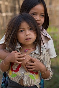 Children in a ethnic village in Laos