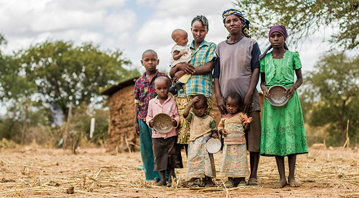 Woman and her children in Kenya