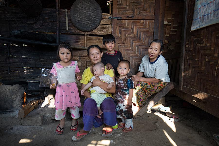 Mother and Children in Myanmar