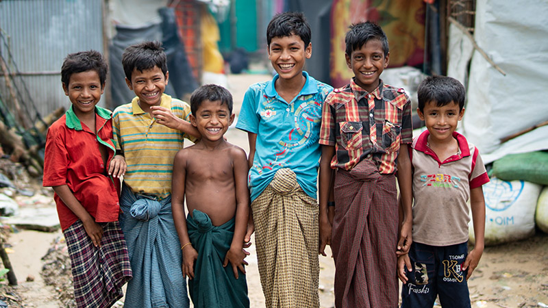Rohingya refugee children in a refugee Camp in Bangladesh