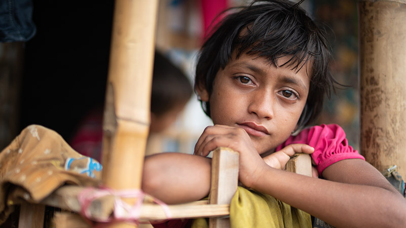Rohingya Refugee Girl by her Shelter