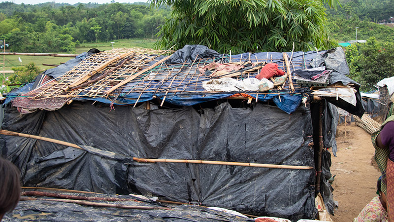 One of the thousands of make shift shelters made of bamboo and tarpaulins