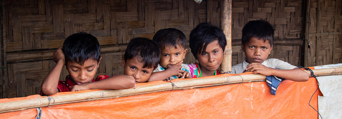 Rohingya Children by their Shelter at a Refugee camp in Bangladesh