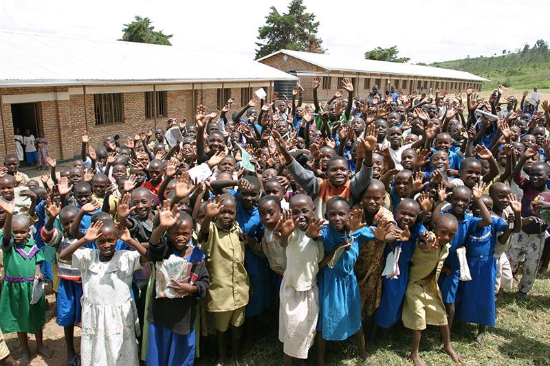 Happy Children in front of their school in Rwanda